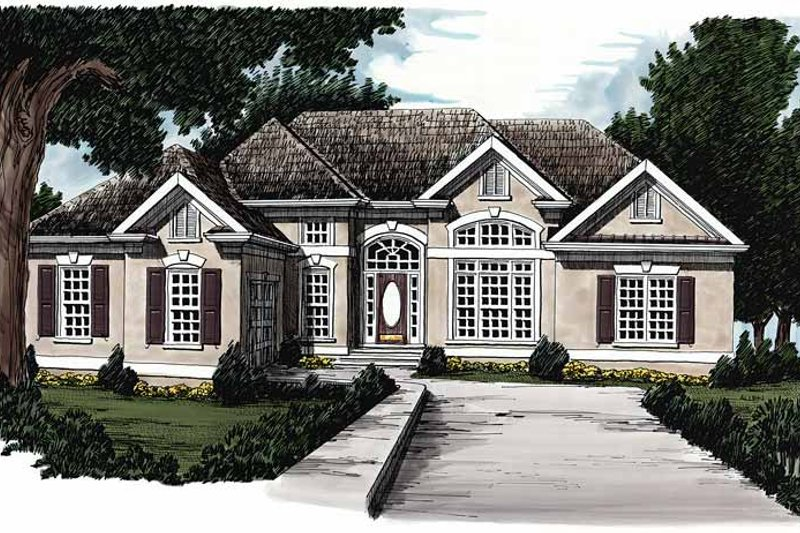 Mediterranean Exterior - Front Elevation Plan #927-86