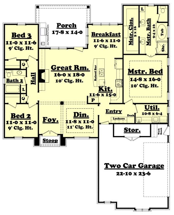 European Floor Plan - Main Floor Plan Plan #430-116