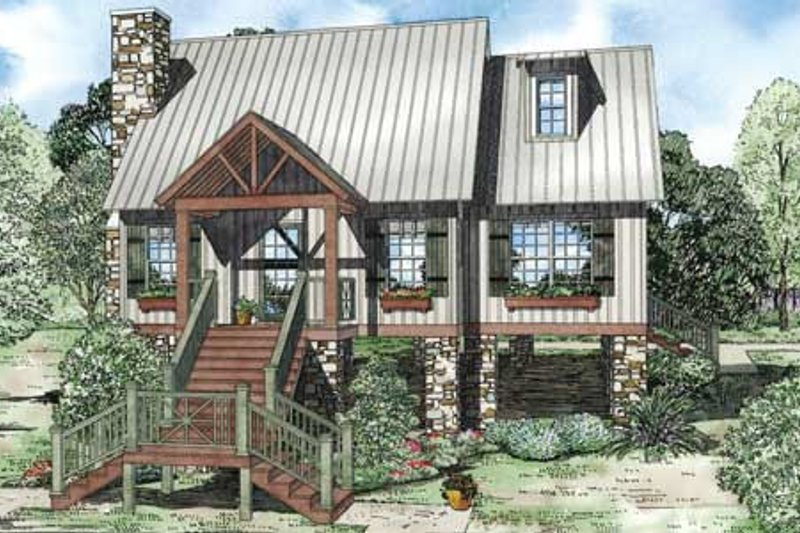 Cottage Style House Plan - 2 Beds 2 Baths 1425 Sq/Ft Plan #17-2362 Exterior - Front Elevation