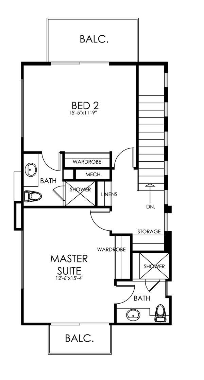 Traditional Style House Plan - 3 Beds 3 Baths 1505 Sq/Ft Plan #484-13 Floor Plan - Upper Floor Plan