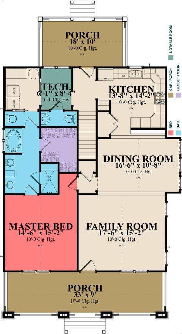 Craftsman Floor Plan - Main Floor Plan Plan #63-381