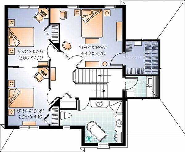 European Floor Plan - Upper Floor Plan Plan #23-2457