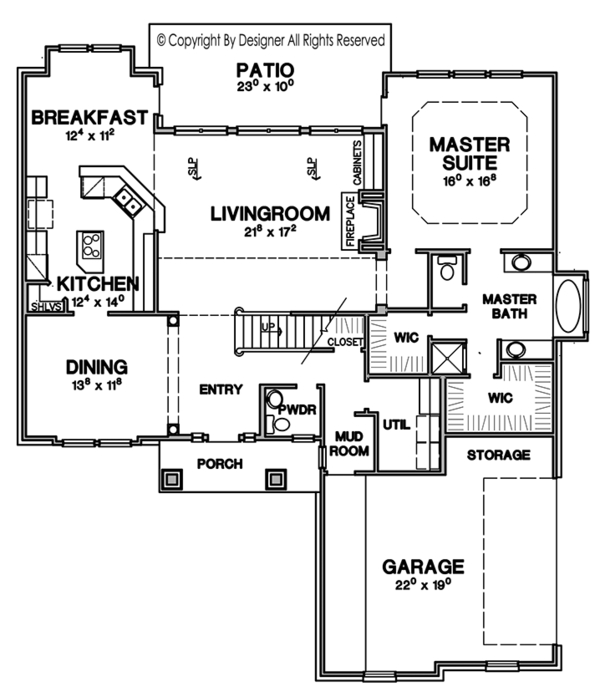 Craftsman Floor Plan - Main Floor Plan Plan #472-378