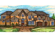 European Style House Plan - 5 Beds 5 Baths 4967 Sq/Ft Plan #135-171 Exterior - Front Elevation