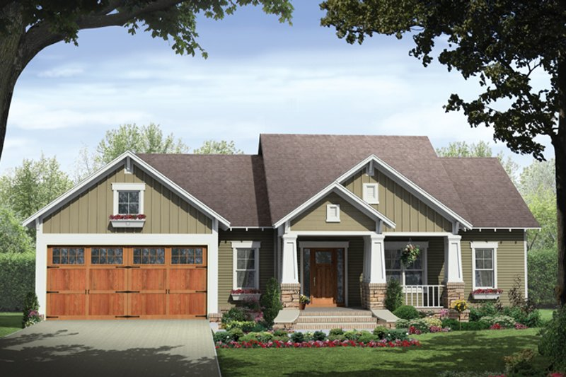 Ranch Style House Plan - 3 Beds 2 Baths 1627 Sq/Ft Plan #21-428 Exterior - Front Elevation