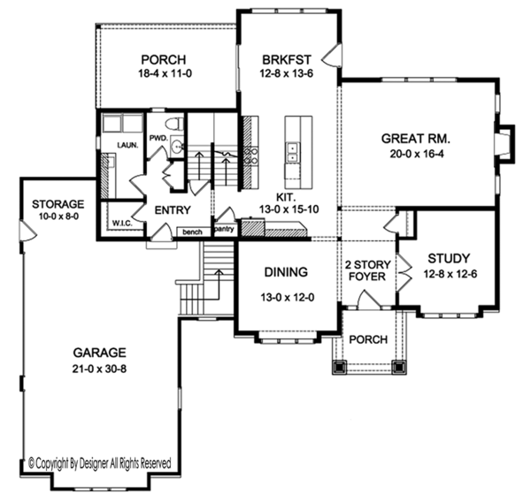 Colonial Floor Plan - Main Floor Plan Plan #1010-168