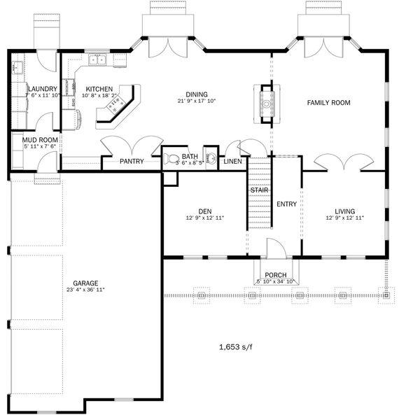 Farmhouse Floor Plan - Main Floor Plan Plan #1060-1