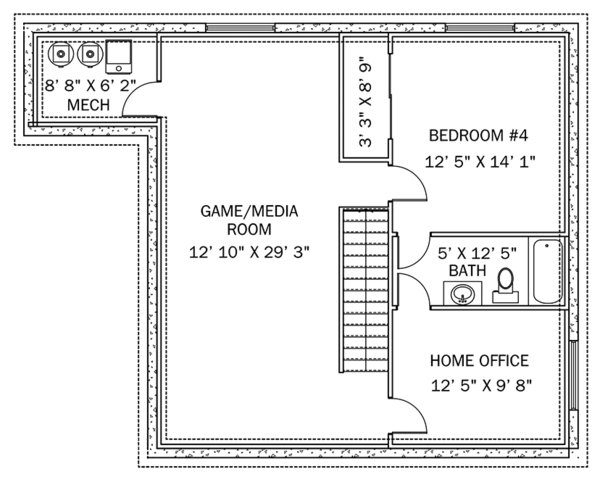 Traditional Floor Plan - Lower Floor Plan Plan #1060-33