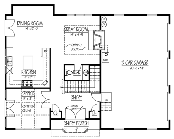 Country Floor Plan - Main Floor Plan Plan #1061-34