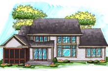 Home Plan - Traditional Exterior - Rear Elevation Plan #70-1037