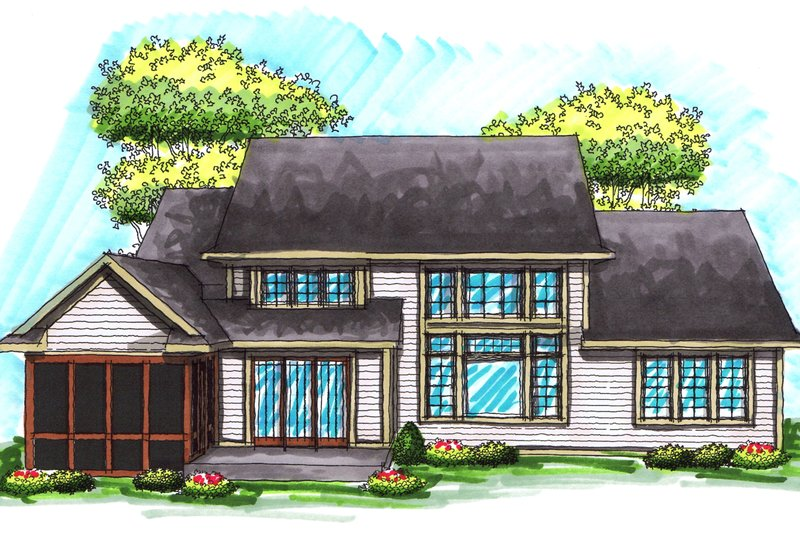 Traditional Exterior - Rear Elevation Plan #70-1037 - Houseplans.com