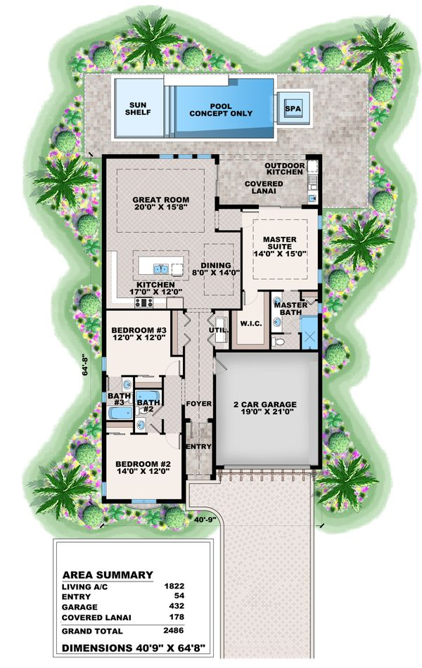 House Plan Design - Mediterranean Floor Plan - Main Floor Plan #27-575