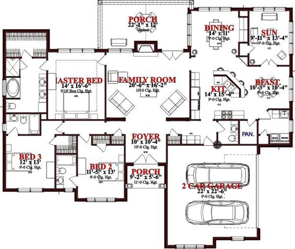 Traditional Floor Plan - Main Floor Plan Plan #63-346