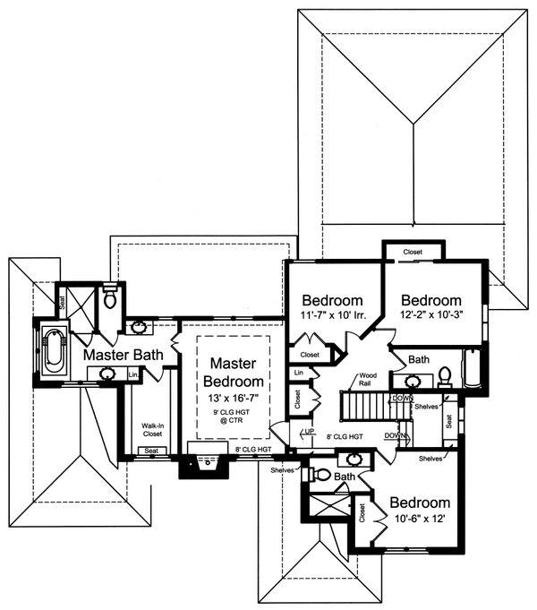 Traditional Floor Plan - Upper Floor Plan Plan #46-870