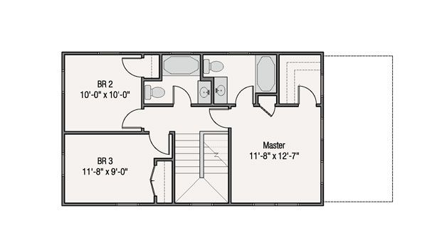Craftsman Style House Plan - 3 Beds 2.5 Baths 1360 Sq/Ft Plan #461-38 Floor Plan - Upper Floor Plan