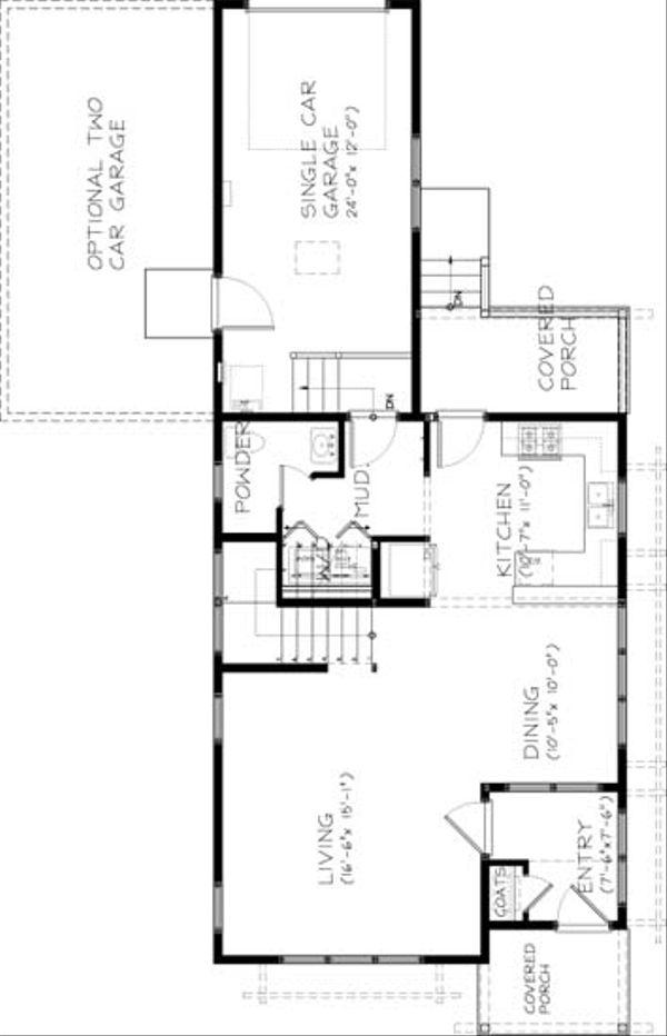Craftsman Floor Plan - Main Floor Plan Plan #434-19