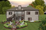 Craftsman Style House Plan - 3 Beds 2 Baths 1800 Sq/Ft Plan #56-634 Exterior - Rear Elevation