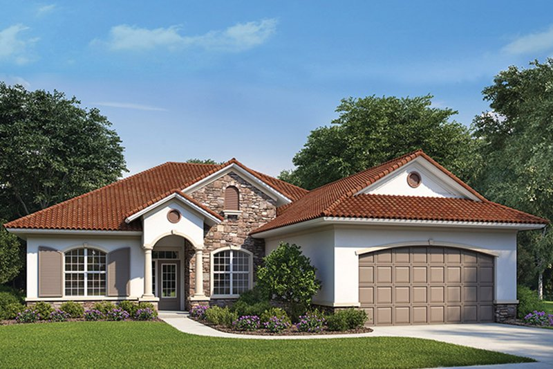 Home Plan - Mediterranean Exterior - Front Elevation Plan #938-73