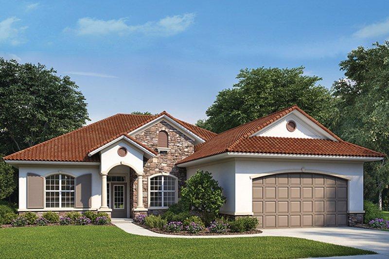 House Plan Design - Mediterranean Exterior - Front Elevation Plan #938-73