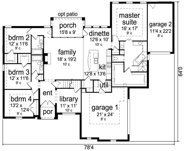 European Floor Plan - Main Floor Plan Plan #84-592