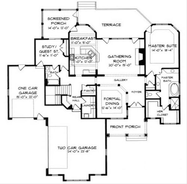 Craftsman Floor Plan - Main Floor Plan Plan #413-115
