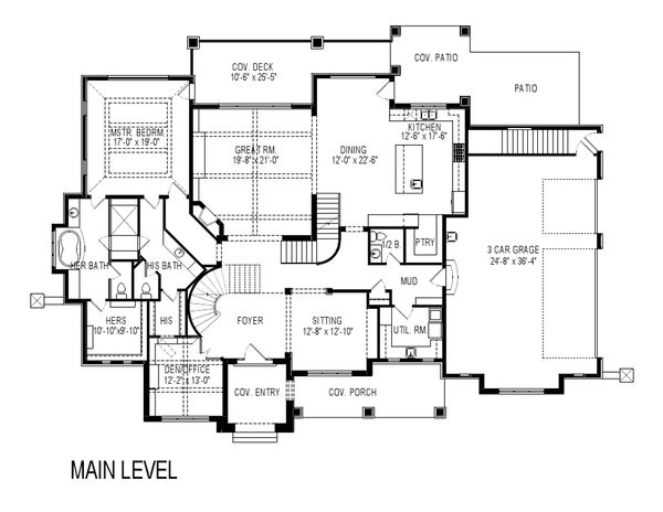 Craftsman Style House Plan - 8 Beds 7 Baths 8903 Sq/Ft Plan #920-31 Floor Plan - Main Floor Plan