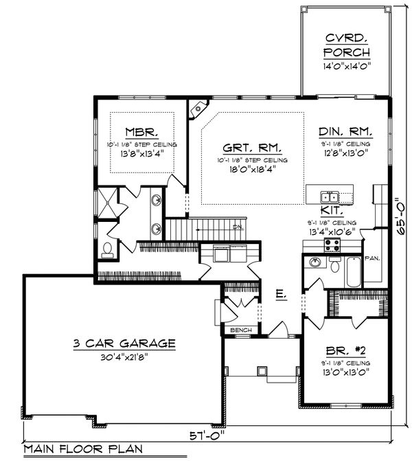Ranch Floor Plan - Main Floor Plan Plan #70-1458