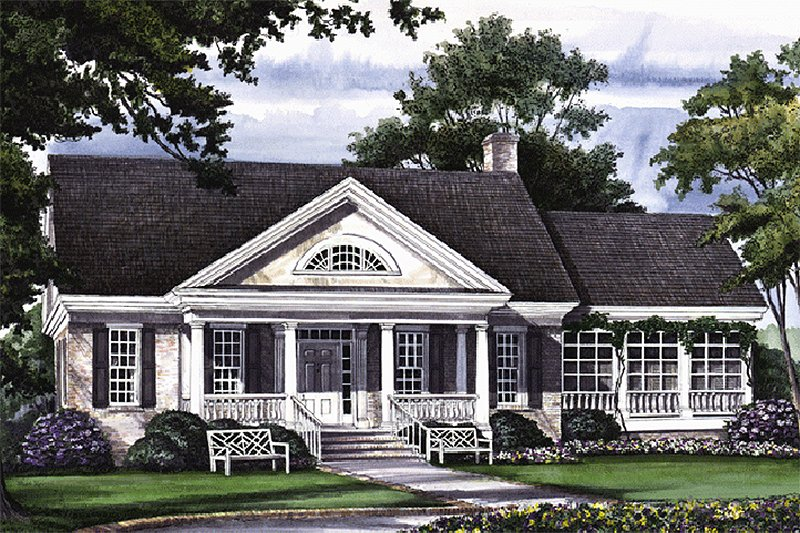 Southern Style House Plan - 3 Beds 2 Baths 2630 Sq/Ft Plan #137-167 Exterior - Front Elevation