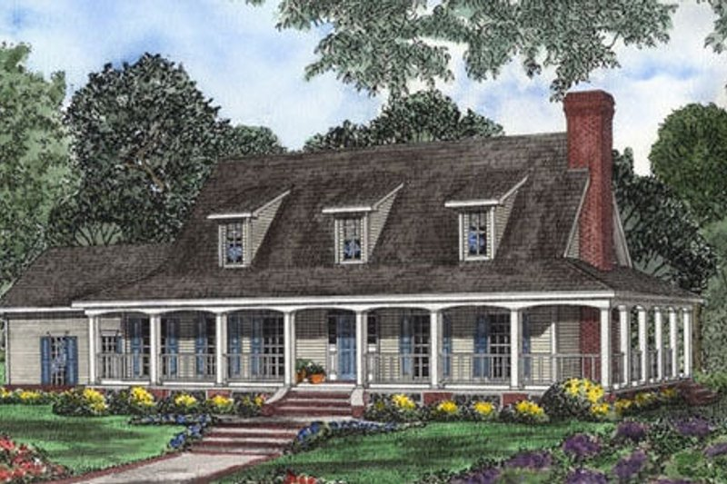 Southern Style House Plan - 3 Beds 2.5 Baths 3060 Sq/Ft Plan #17-546 Exterior - Front Elevation