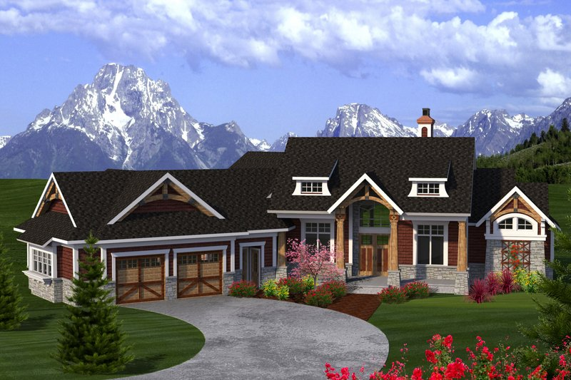 Craftsman Exterior - Front Elevation Plan #70-1192