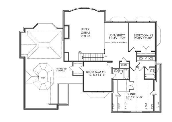 Traditional Floor Plan - Upper Floor Plan Plan #30-342