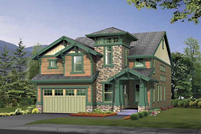 Architectural House Design - Craftsman Exterior - Front Elevation Plan #132-403