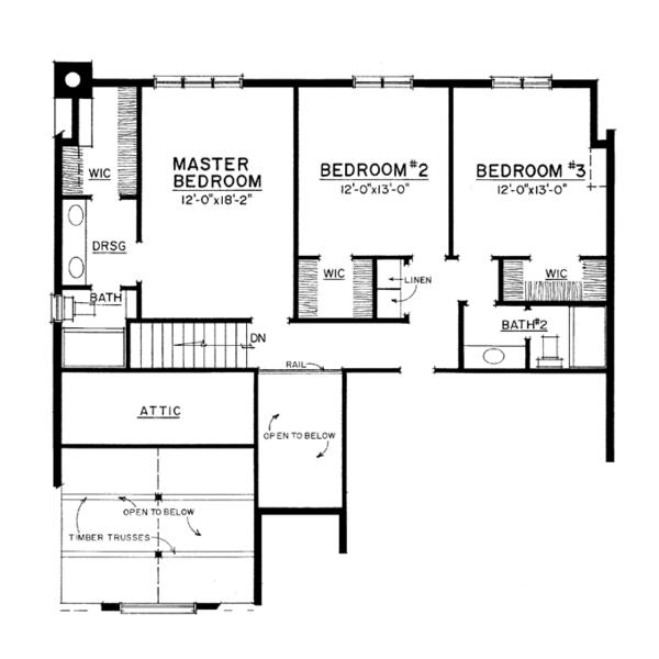 European Floor Plan - Upper Floor Plan Plan #1016-106