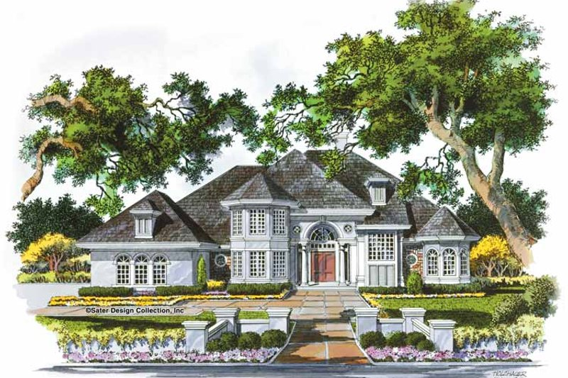 Mediterranean Style House Plan - 4 Beds 3.5 Baths 4140 Sq/Ft Plan #930-46 Exterior - Front Elevation