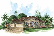 Mediterranean Exterior - Front Elevation Plan #1017-19