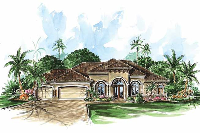 Dream House Plan - Mediterranean Exterior - Front Elevation Plan #1017-19