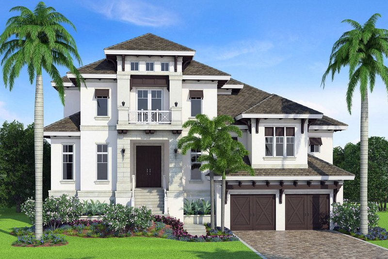 Beach Style House Plan - 3 Beds 3.5 Baths 4712 Sq/Ft Plan #27-569 Exterior - Front Elevation
