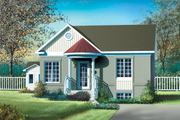 Cottage Style House Plan - 2 Beds 1 Baths 896 Sq/Ft Plan #25-141 Exterior - Front Elevation