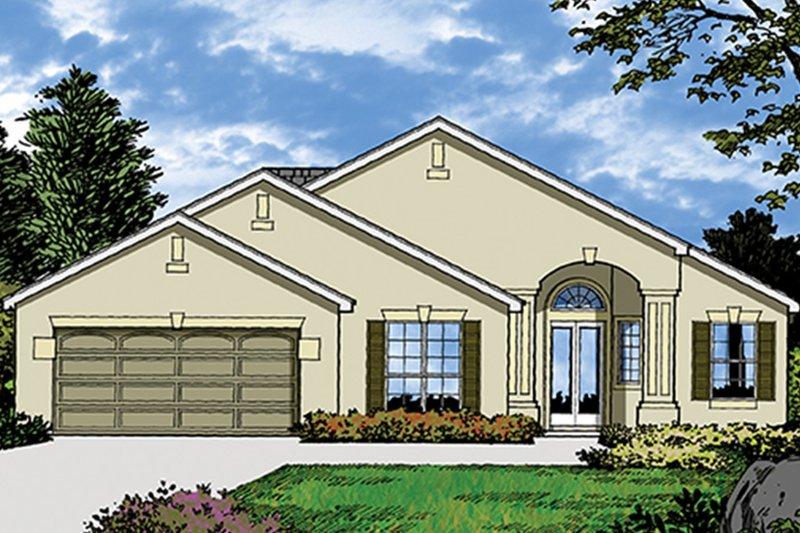 Architectural House Design - Mediterranean Exterior - Front Elevation Plan #417-829