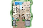 Mediterranean Style House Plan - 4 Beds 5 Baths 9430 Sq/Ft Plan #27-542 Floor Plan - Main Floor