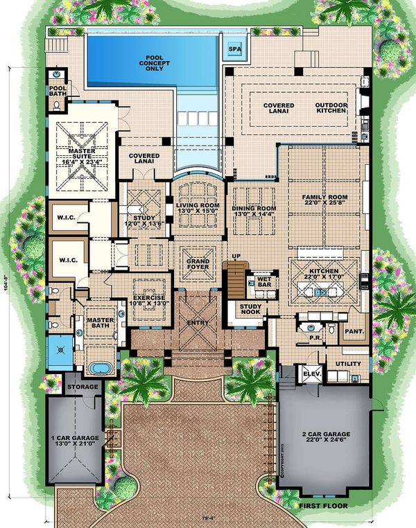 Mediterranean Floor Plan - Main Floor Plan #27-542