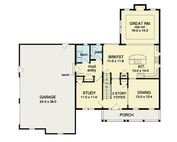Architectural House Design - Colonial Floor Plan - Main Floor Plan #1010-35