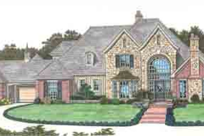 European Style House Plan - 6 Beds 6.5 Baths 4674 Sq/Ft Plan #310-211 Exterior - Front Elevation