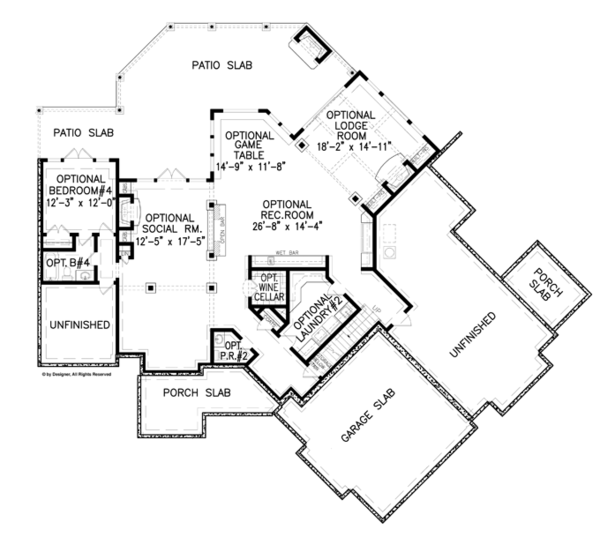Craftsman Floor Plan - Lower Floor Plan Plan #54-375
