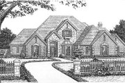 European Style House Plan - 4 Beds 3.5 Baths 3709 Sq/Ft Plan #310-637 Exterior - Front Elevation