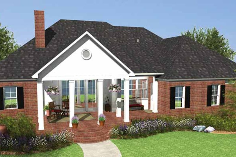 Country Exterior - Rear Elevation Plan #406-9629 - Houseplans.com