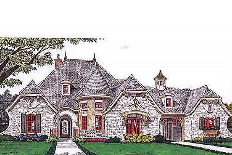 European Style House Plan - 4 Beds 4 Baths 3643 Sq/Ft Plan #310-686