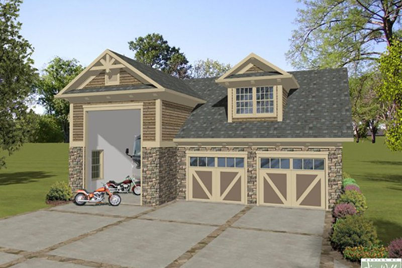 Dream House Plan - Craftsman, Front Elevation, RV Garage