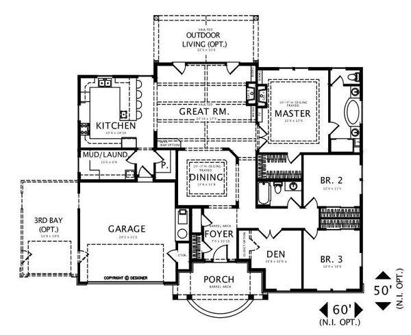 Craftsman Floor Plan - Main Floor Plan #487-2