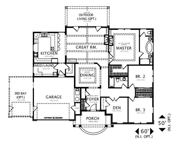 Craftsman Floor Plan - Main Floor Plan #487-2